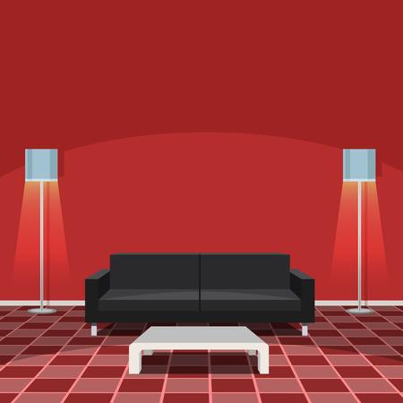 Modern Living Room - Red Vector