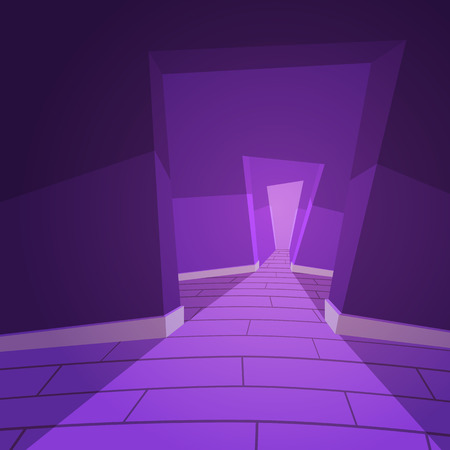 hallway: Cartoon illustration of the abstract hallway.