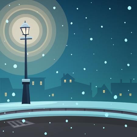 City in the snow Vector