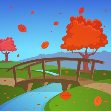 bridge in nature: Autumn landscape with bridge