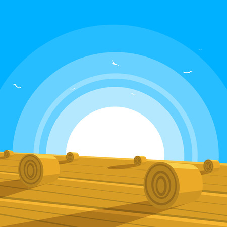 俵: 干し草の俵とフィールド  イラスト・ベクター素材