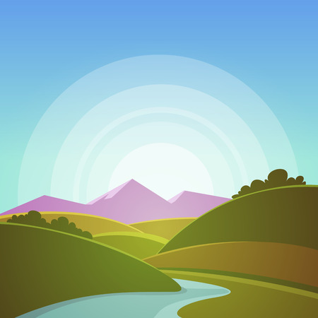 river       water: Mountain Landscape Illustration