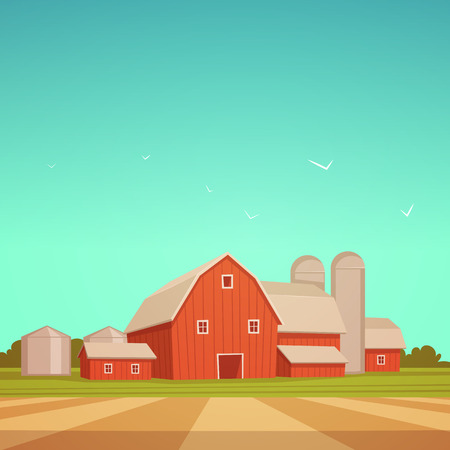 birds scenery: Red Farm Barn