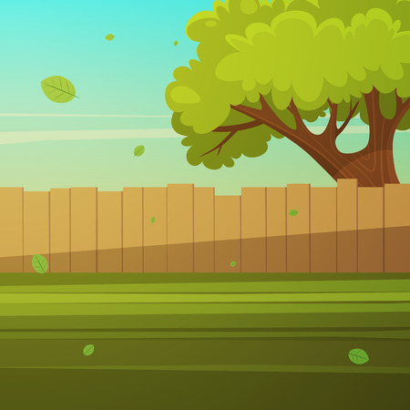 fence: Wooden fence with tree Illustration
