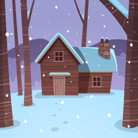 cabins: Cabin in woods Illustration