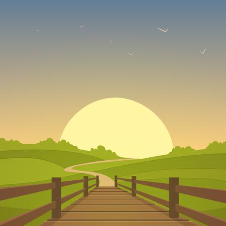 arboles de caricatura: El puente de madera