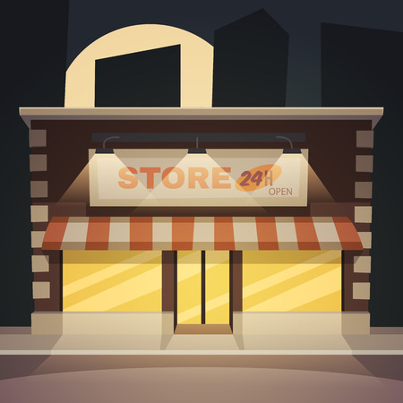consume: Front view of the store at night time, cartoon vector illustration.
