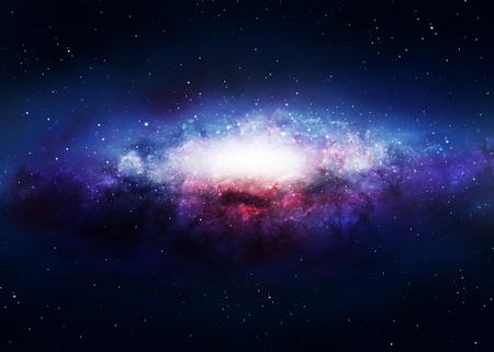 Spiraal glanzend melkweg in een donkere ruimte. Stockfoto