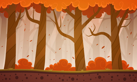 Autumn Forest Cartoon Background Stock Illustratie