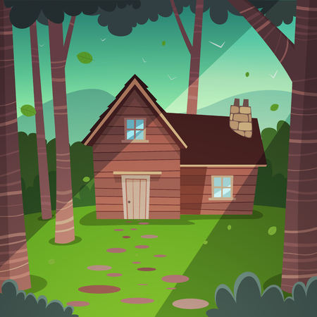 shack: Cartoon illustration of the summer forest landscape with wooden cabin.