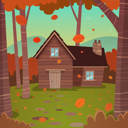 shack: Cartoon illustration of the autumn forest landscape with wooden cabin.