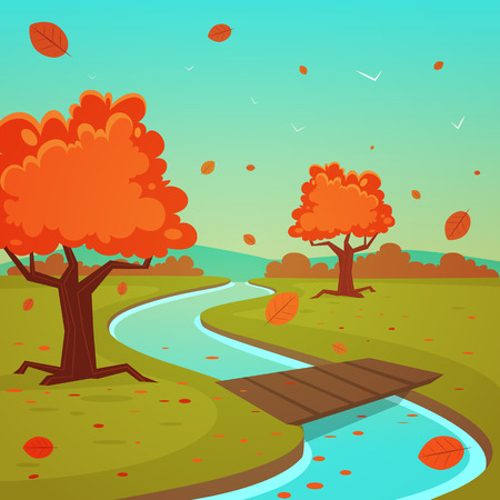 autumn leaves falling: Cartoon Autumn Landscape