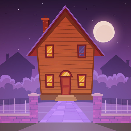 night time: Cartoon House - Night Time