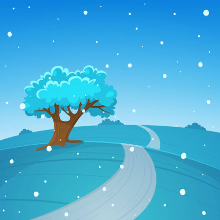 country road: The cartoon illustration of the winter landscape with country road.
