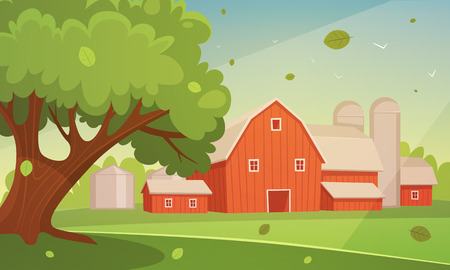 farm landscape: Farm Cartoon Landscape