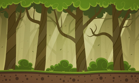 green forest: Forest Cartoon Background
