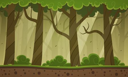 Forest Cartoon Pozadí Ilustrace