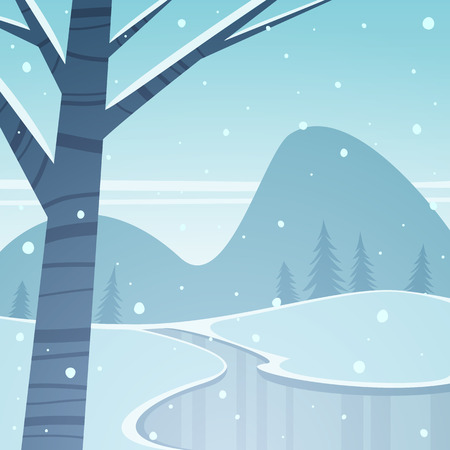 the cold: Frozen Lake Illustration