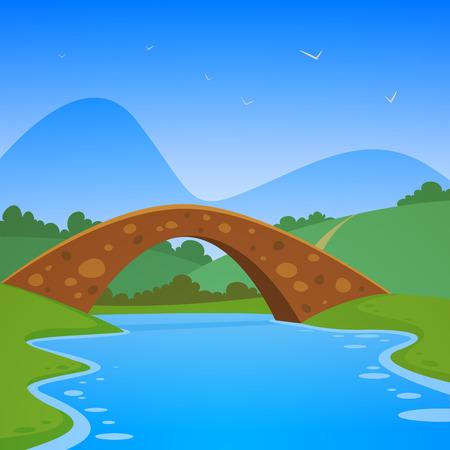 Landscape with bridge Vector
