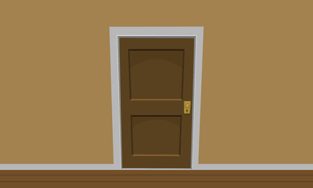 room door: Cartoon illustration of the room door.