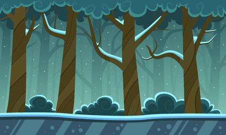 Winter Forest Cartoon Achtergrond Stock Illustratie