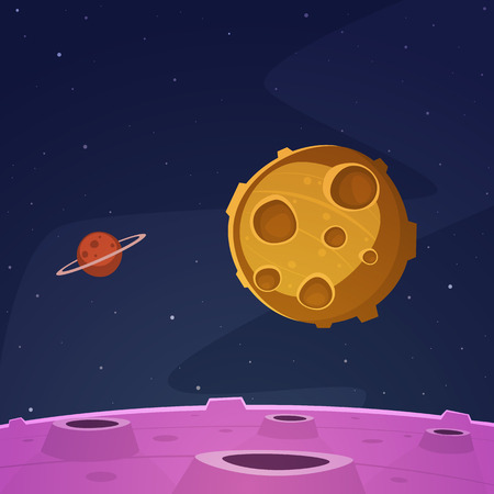 moon surface: Cartoon Space Background