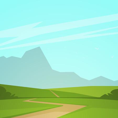 horizon: Paisaje de verano de dibujos animados