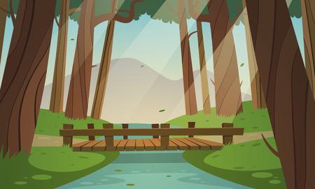 Cartoon illustratie van de kleine houten brug in het bos, zomer landschap.