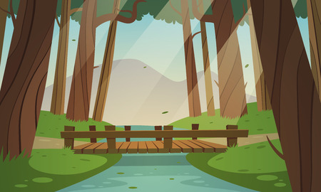bridge construction: Cartoon illustration of the small wooden bridge in the woods, summer landscape.