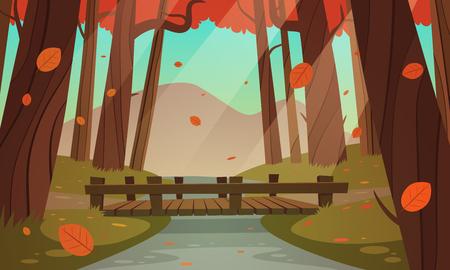 Cartoon illustration of the small wooden bridge in the woods, autumn landscape. Illustration