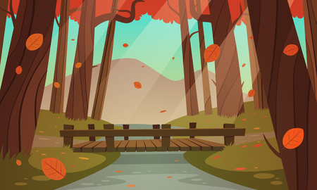 Cartoon illustration of the small wooden bridge in the woods, autumn landscape. 向量圖像