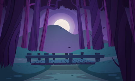 Cartoon illustration of the small wooden bridge in the woods, night landscape.