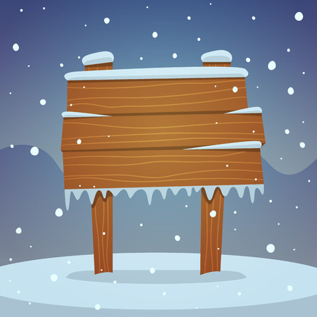 snow falling: Wooden board in snow
