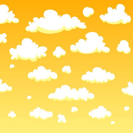 Yellow cartoon clouds background Ilustração
