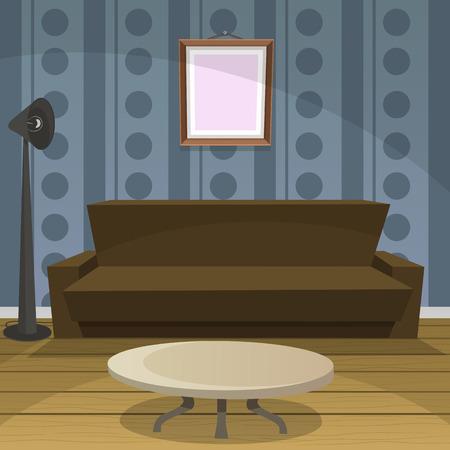 vintage living room: Retro Room - Blue