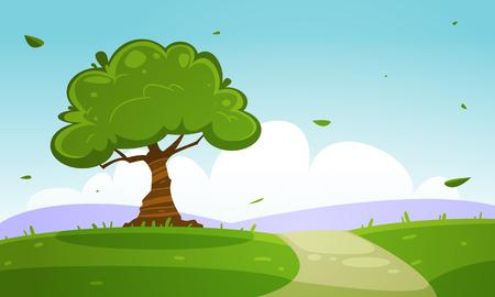 Summer Cartoon Landscape Illusztráció