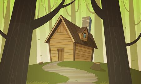 森の中をキャビンします。  イラスト・ベクター素材