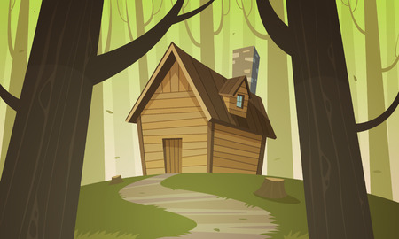 Cabin in woods Stock Illustratie