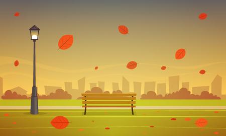 fall scenery: Autumn City Park Illustration