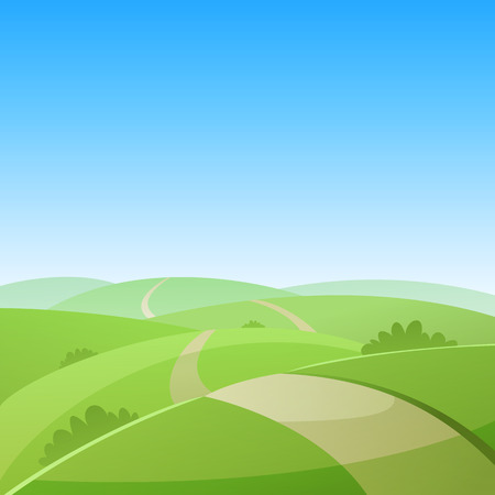 panoramic sky: Country Road Illustration