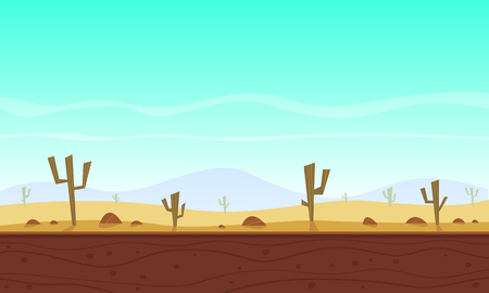 Desert cartoon game background Stock Illustratie