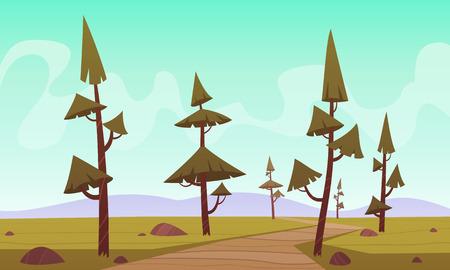 trees illustration: Cartoon Landscape