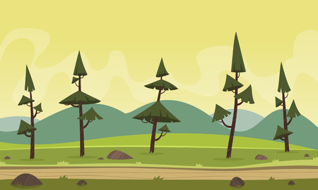 country road: Mountain cartoon landscape with pines and country road. Illustration