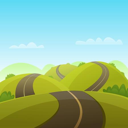 Cartoon illustratie van de asfaltweg over de heuvels. Stockfoto - 46968018