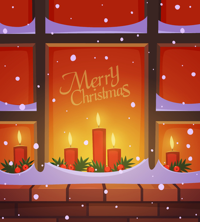 candles: Snow covered window with Christmas decoration, holiday greeting card, cartoon vector illustration. Illustration