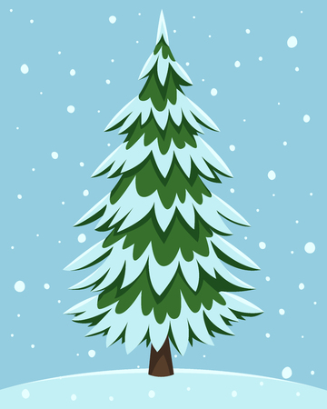 Cartoon illustration of the pine tree covered with snow. Çizim