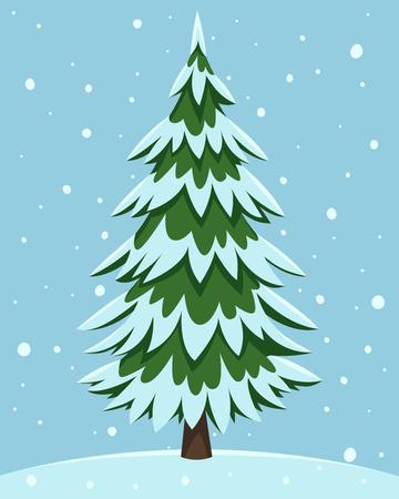 Ilustración de la historieta del árbol de pino cubierto de nieve. Foto de archivo - 49131493