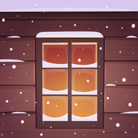lodge: Snow covered window, cartoon vector illustration. Illustration