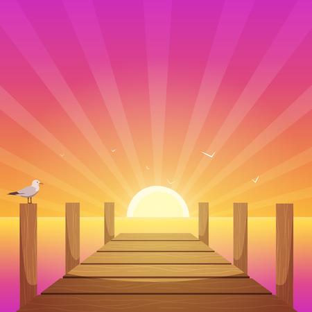 Zonsondergang bij Pijler