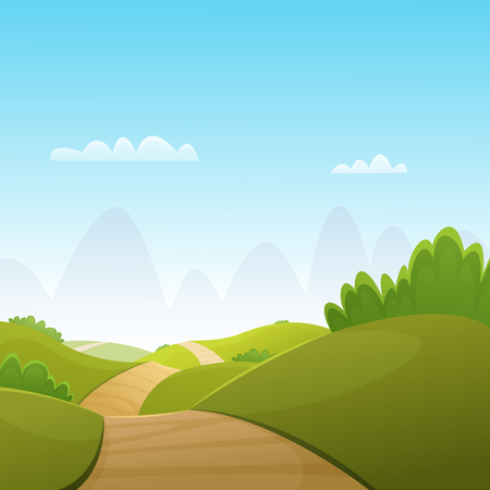 way: The cartoon illustration of the summer landscape with country road.